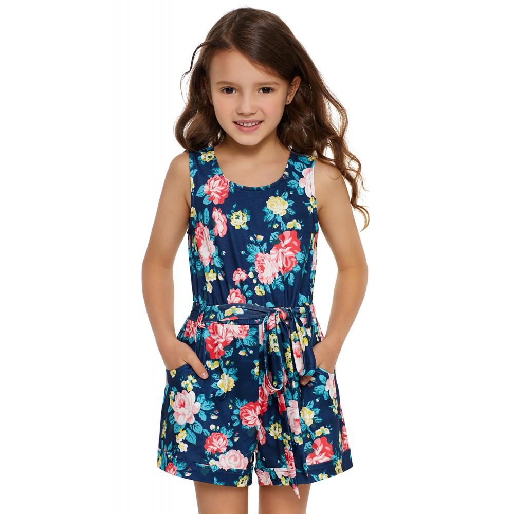 Blue Floral Romper for Little Girls