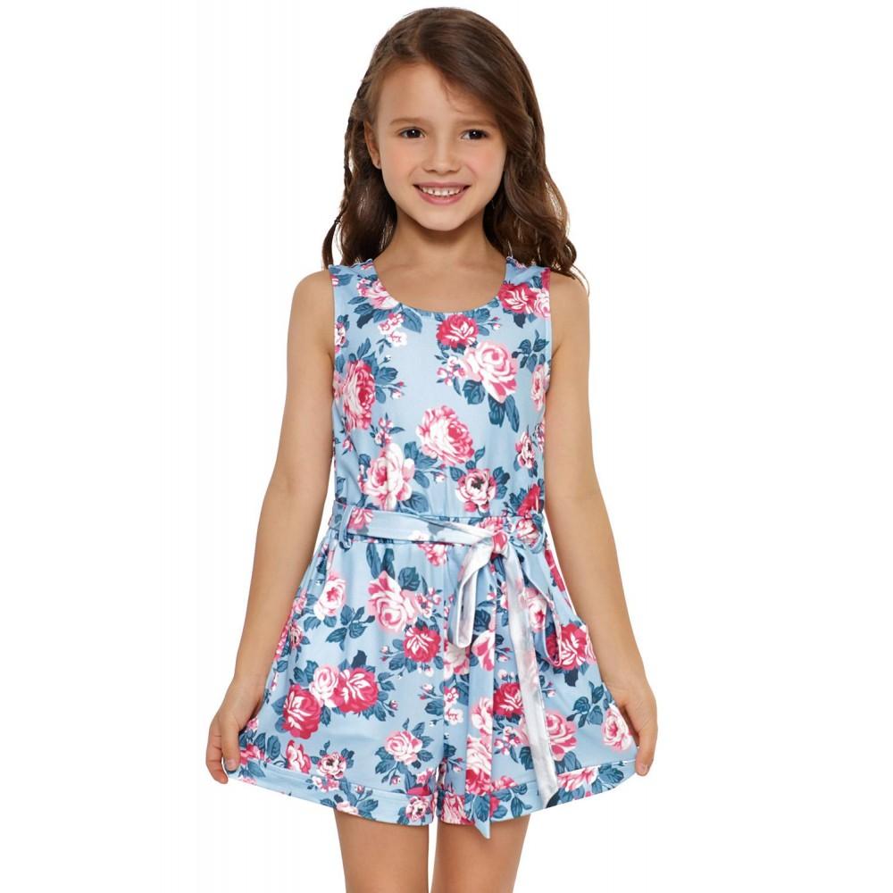 Sky Blue Floral Romper for Little Girls