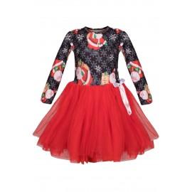 Black Red Santa Snowflack Print Christmas Toddler Dress