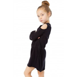 Black Girl's Long Sleeve Cold Shoulder Dress