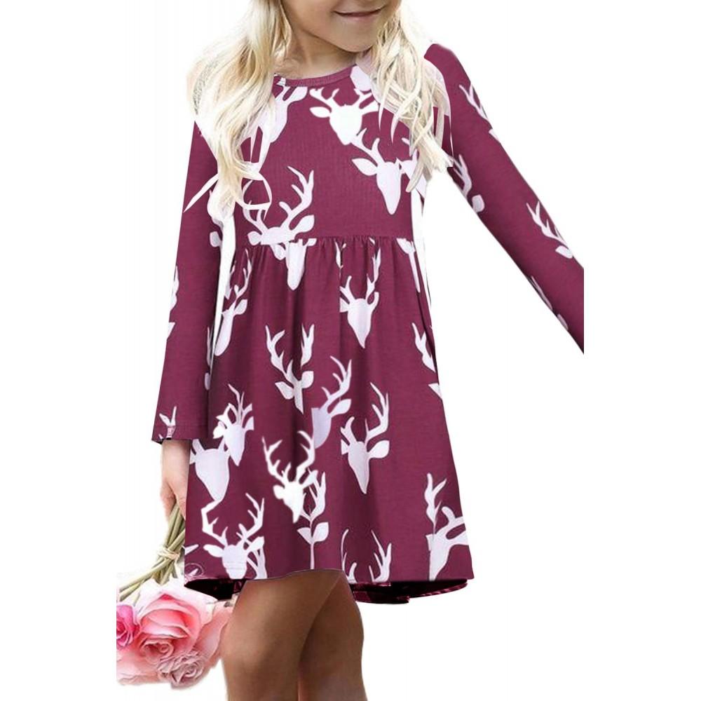Burgundy Christmas Deer Print Long Sleeve Girl Dress