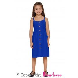 Blue Little Girls Spaghetti Strap Button Dress with Pockets