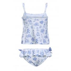 Blue Toile Pattern Little Girls Swimsuit