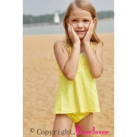 Bright Yellow Printed Kid Girls Tankini Swimwear