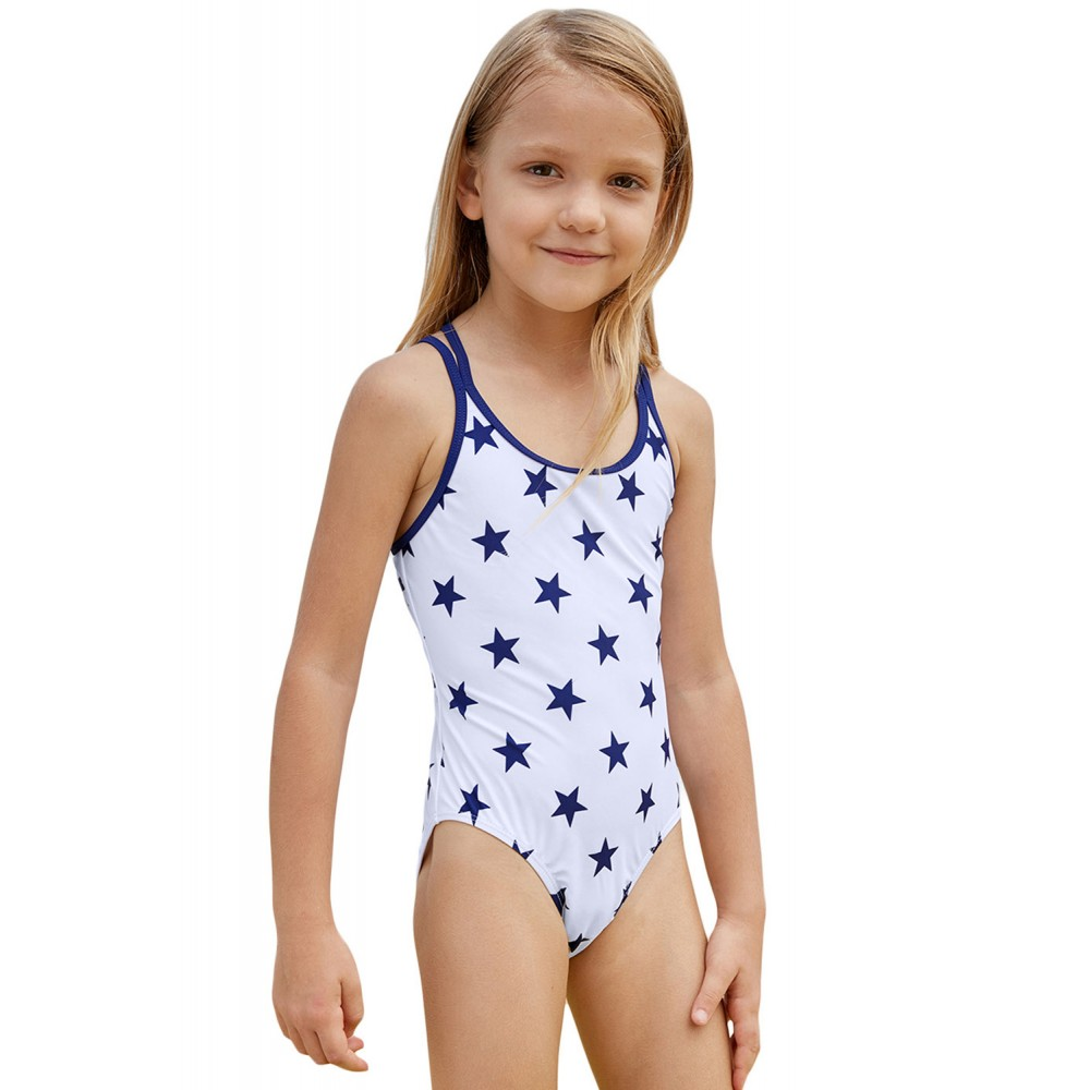 Blue Stars Print White Kid Girls Maillot