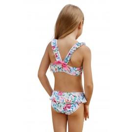 Cute Frill Printed Little Girls Swimwear