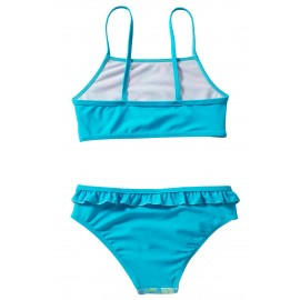 Blue Floral Strappy Little Girls' Tankini Set