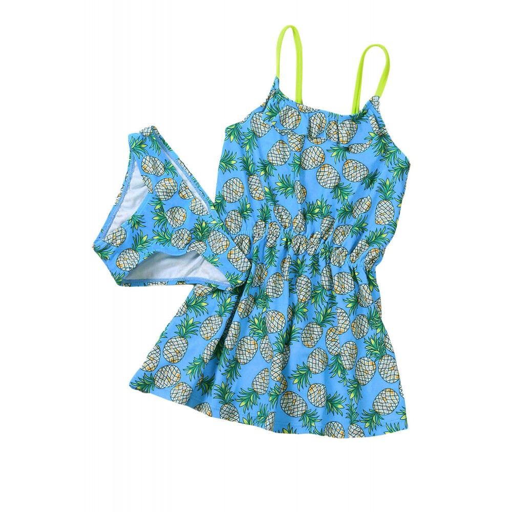 Blue Pineapple Print Little Girls Swimdress with Panty