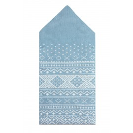 Light Blue Knitted Print Newborn Baby Blanket with Buttons