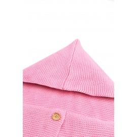 Pink Knit Hooded Infant Receiving Blanket