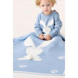 Sapphire Bunny Animal Print Muslin Swaddle Blanket
