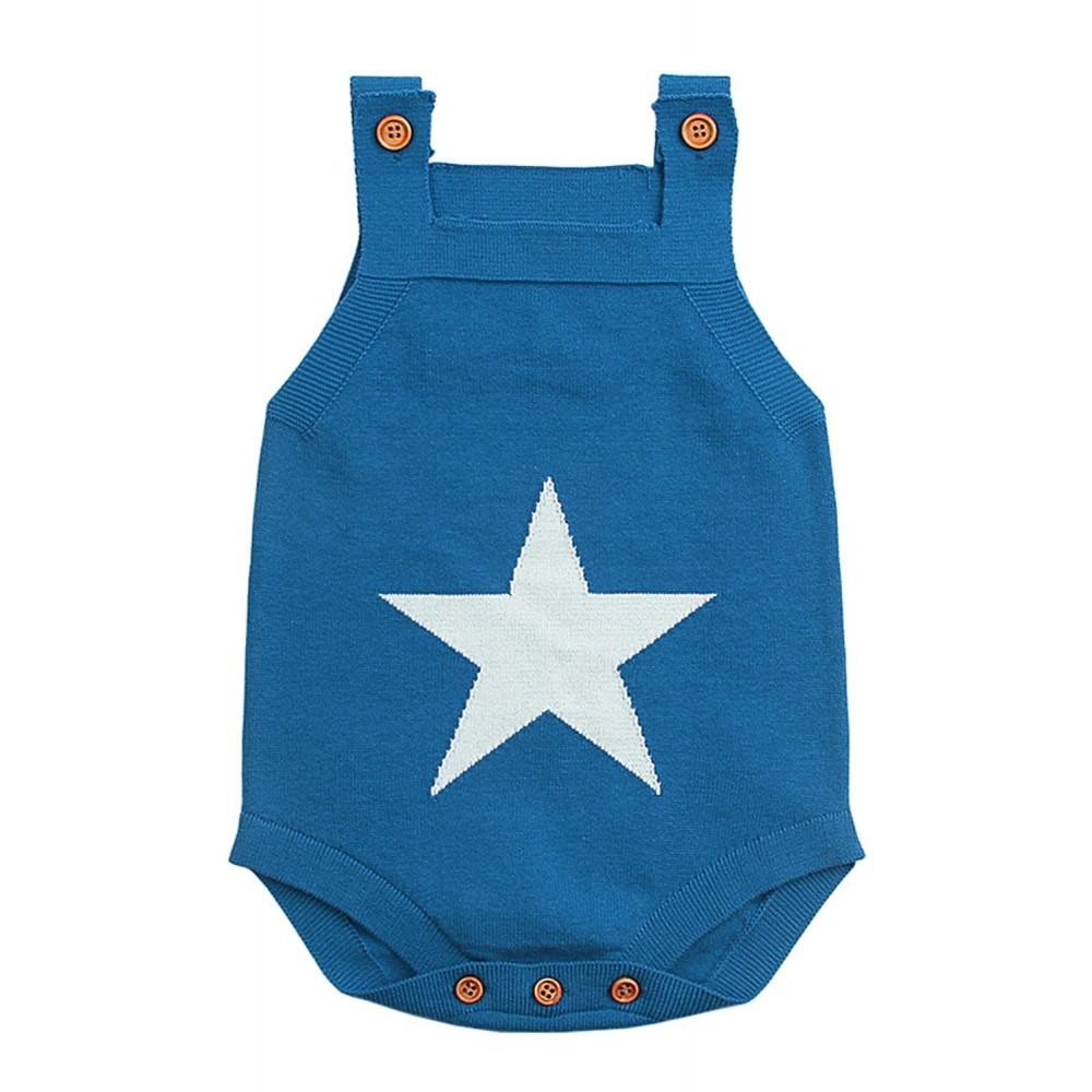 Blue Star Pattern Knitted Infant Romper Baby Wear