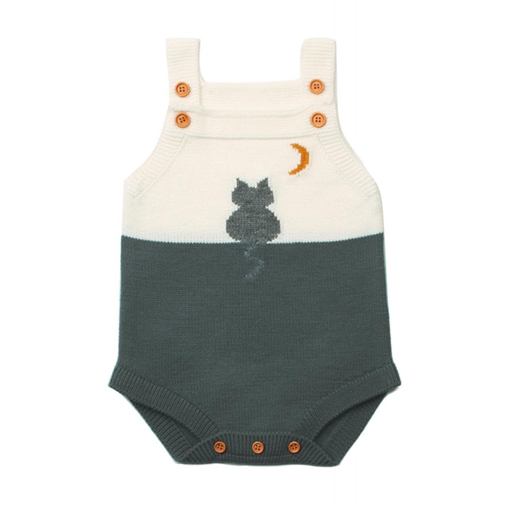 Grey Cat Under the Moon Cotton Knit Infant Bodysuit