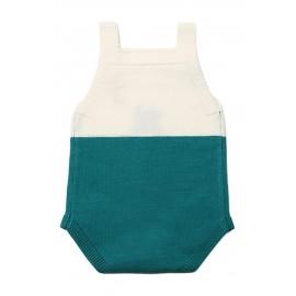 Green Cat Under the Moon Cotton Knit Infant Bodysuit