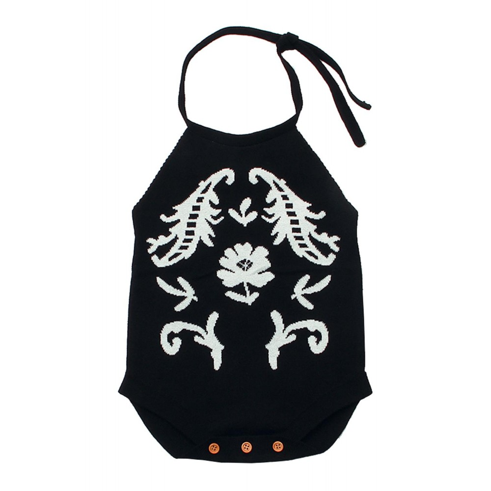 Black Childish Flower Knit Hater Infant Bodysuit