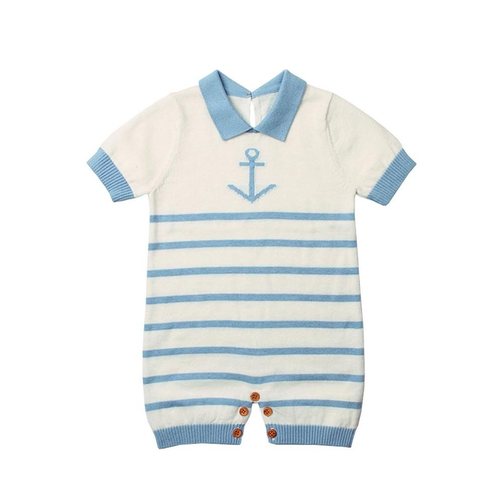 Blue Anchor Stripe Knit Baby Romper Suit