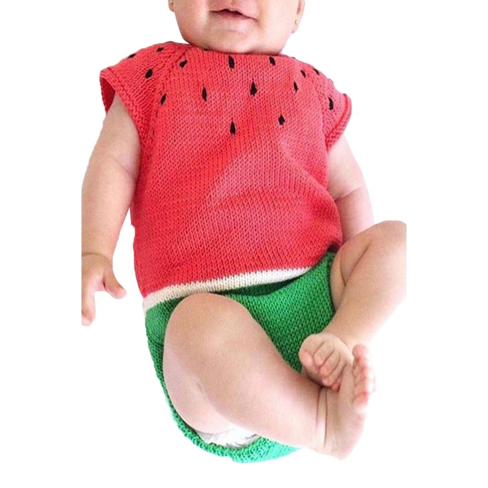Cartoon Watermelon Knit Baby Onesies
